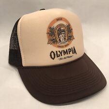 Olympia Beer Trucker Hat Old Brewery Logo Vintage Style Snapback Cap Brown / Tan