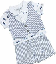 BabyPrem Boys Baby Clothes 2 Piece Outfit 'Cars' T-Shirt Shorts Waistcoat Set