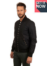 RRP €710 BRUNO BORDESE Leather Bomber Jacket Size M Popper Front Made in Italy