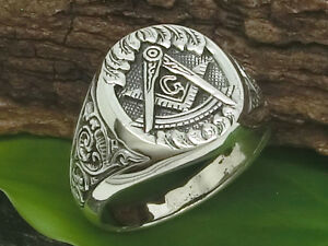Freimaurer Siegelring 925 Silber Ring Masonic Tempelritter auch große Größen
