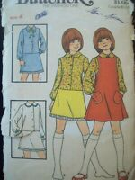Vintage Butterick Pattern 4388 Girl's Blouseslip & Jumper Cut Size 4 circa 1960s
