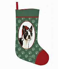 Boston Terrier Tapestry Christmas Stocking ~ Artist, Linda Picken