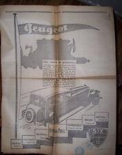 PEUGEOT SIX 12< DECEMBBRE 1929<JOURNAL LE PETIT ARDENNAIS VOUZIERS RETHEL