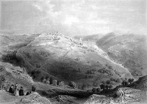 Israel JERUSALEM WALLS TEMPLE MOUNT ZION DOME OF ROCK ~ 1847 Art Print Engraving