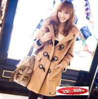 Womens Lady's Winter Parka Wool Blend Hooded Duffle Toggle Trench Coats Mid-Long