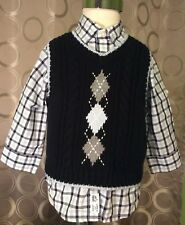 janie and jack Baby Boy Vest And Shirt Dapper Young Gent Line Size 6-12 Months