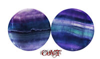 Pair 8g-38mm Rainbow Fluorite Plugs Tunnels Purple Organic Stone Double Gauges