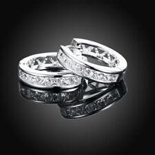 Silver Plated CZCubic Huggie Hoop Small Earrings Men Women  E21