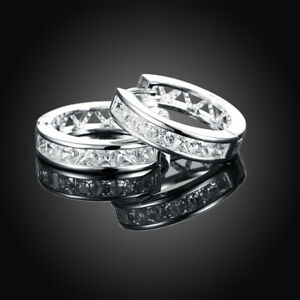 Silver Plated CZ Cubic Huggie Hoop Small Earrings Men Women  E21