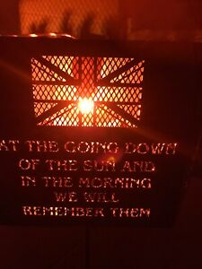 """""""Lest We Forget"""" soldier hexagonal fire pit """"going down of the sun."""".."""