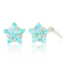 Sterling silver 6mm aqua star cubic zirconia Andralok stud earrings / Gift box