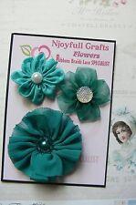 HANDMADE 3 Flower Mix TEAL Organza Satin Lace 45, 50 & 70mm NjoyfullCrafts