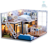 DIY Handcraft Miniature Project Wooden Dolls House My Studio Apartment In Blue