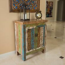 Shabby Chic Inspired Design Green Multicolor Wood 2 Door Cabinet
