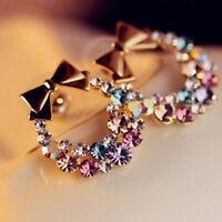 New Fashion 1pair Ear Stud Women Lady Elegant Crystal Rhinestone Earrings Gift