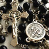 BLUE Sandstone & SILVER ROSE BEADS ROSARY ST.BENEDICT ITALY CROSS NECKLACE