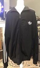 Mens Vintage Adidas Jacket Black White Stripes Sz Extra Large XL Full Zip GUC