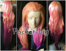 150cm LOL Zoe Aspect of Twilight orange pink purple Mixed color Cosplay full wig
