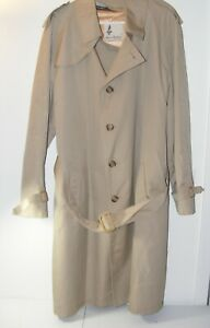 Misty Harbor Men's 42 Long Wool Lined Overcoat Trench Coat Tan brown