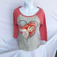 Disney Womens Little Mermaid Ariel Medium 3/4 Sleeve Colorful Graphic Tee-Shirt