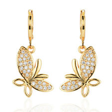 Women Beauty Butterfly 18K Gold Plated Zirconia CZ Drop Dangle Earrings Jewelry