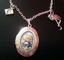 Alicia en el país de las maravillas Flamingo Encanto Plata Medallón Collar Gótico Steampunk Tenniel