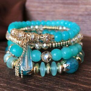 4Pcs Boho Multilayer Natural Stone Crystal Beaded Bracelets Fashion Women Set