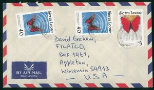 Mayfairstamps Sierra Leone 1980s to US Airmail Buttfly Stamps cover wwo1763