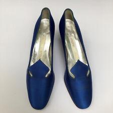 Beautiful Sapphire Blue silk Helene Arpels Vintage Heels 7.5M