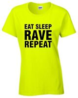 EAT SLEEP RAVE REPEAT Ladies Neon Yellow T-Shirt 8-16 Printed Techno 80s 90s
