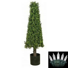 """40"""" Artificial Boxwood Cone Tower Christmas Tree In Outdoor Holiday Lights"""