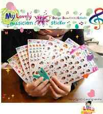 #43 cute music cartoon pvc stickers notebook diary decoration 6 sheets