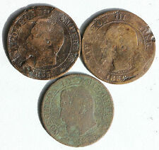 3 PIECES EN BRONZE - FRANCE - 5 CENTIMES - NAPOLEON III - 1855 ET 1856