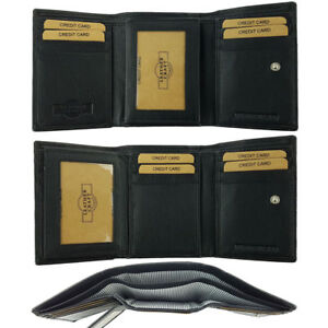 Mens Tri-Fold Leather Wallet Divided Notes Credit Card Holder Cowhide
