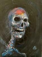 "24"" Happy Smiling Skull Dark Macabre Figure Impasto Original Painting Wall Art"