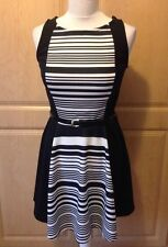 Scoop Neck Skater Striped Regular Size Dresses for Women