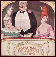 PUBBLICITA' 1920 DE GIUSTI PADOVA CARAMELLE DOLCIUMI TEATRO LOGGIONE R.VENTURA