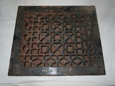"Antique Cast Iron Victorian Heat Grate Floor/Wall Register 10X12"" Vtg Old"