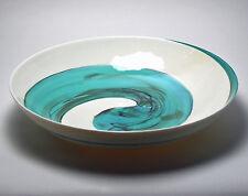 "HOME DECOR - ""AEGEAN SEA"" MURANO GLASS CENTERPIECE BOWL - IVORY / TEAL GREEN"