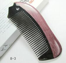 Nice 8-3 QiaoYaTou Black Buffalo Horn Fine-Tooth Unisex Comb Violet Wood Rim