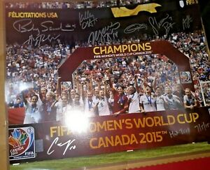 USWNT 2015 World Cup Signed 16x20 8 Players Carli Lloyd Inscription USA Soccer