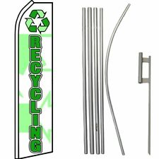 Recycling White / Green Swooper Flag & 16ft Flagpole Kit/Ground Spike