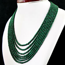 AMAZING 625.15 CTS NATURAL RICH GREEN EMERALD 7 LINE ROUND CUT BEADS NECKLACE