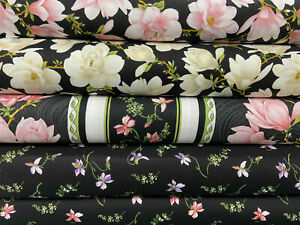 Benartex 'Accent on Magnolias' 100% Cotton Fabric by 1/4 Metre* Floral/Flowers