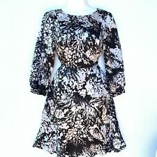 Karen Miller Women's Dress 3/4 Sleeve Round Neck Black & White Silk
