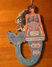 Follow Your Bliss - Inspire Dream Mermaid Beaded Ornament Sign Beach Home Decor