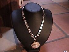 gorgeous vintage givenchy heavy silver tone necklace with medallion
