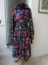 Womens Floral  Long Trench Coat Jacket Multicolour UK14 New