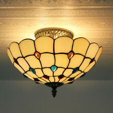 Tiffany Style Baroque Beads Stained Glass Flush Mount E27 Light Ceiling Lamp