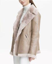 Calvin Klein Oatmeal Lamb Shearling Biker Jacket BNWT UK10/12 US Med RRP$2195